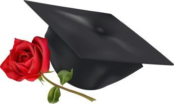 Graduation cap with rose